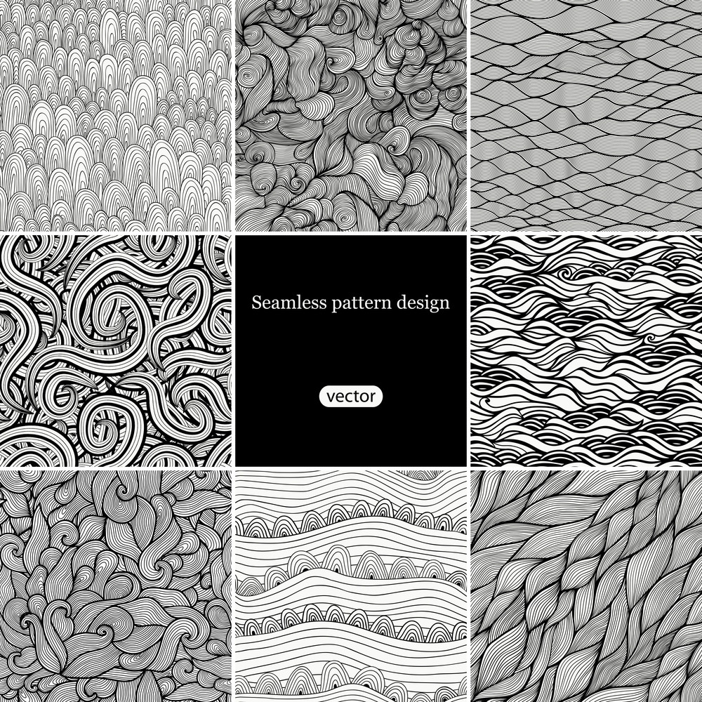 Set Of Eight Black And White Wave Patterns (seamlessly Tiling).seamless Pattern Can Be Used For Wallpaper