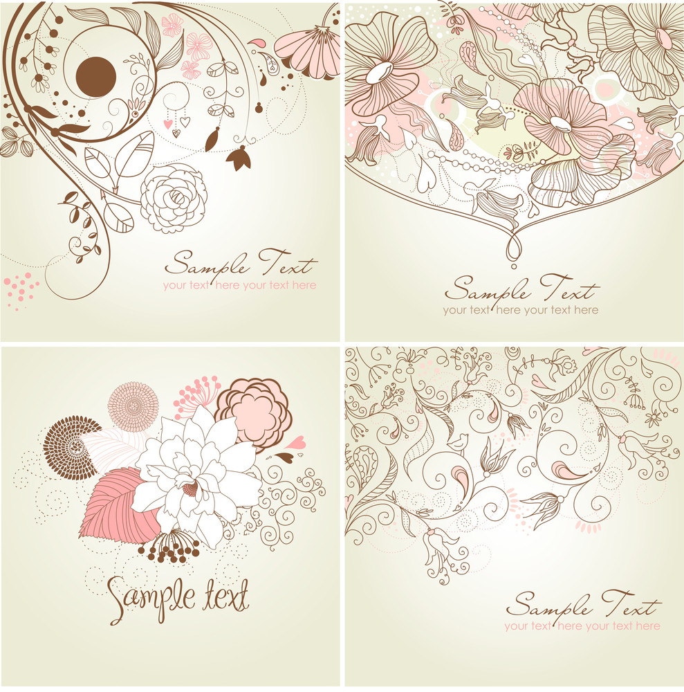 Set Of Floral Greeting Cards In Pink Shades