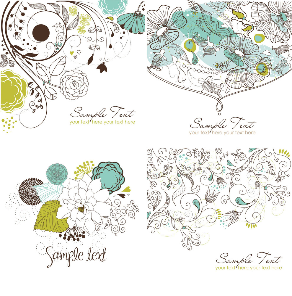 Set Of Floral Greeting Cards In Retro Style