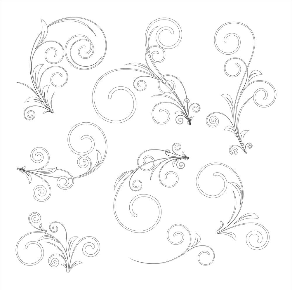 Set Of Flourish Drawing Elements