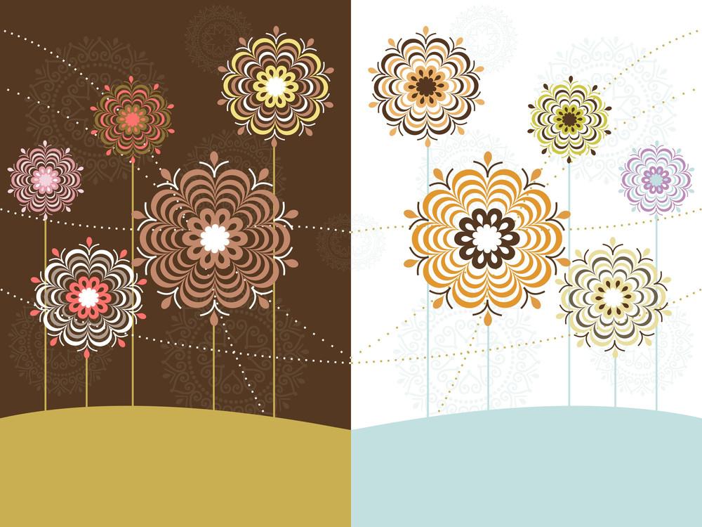 Set Of Flower Pattern Card