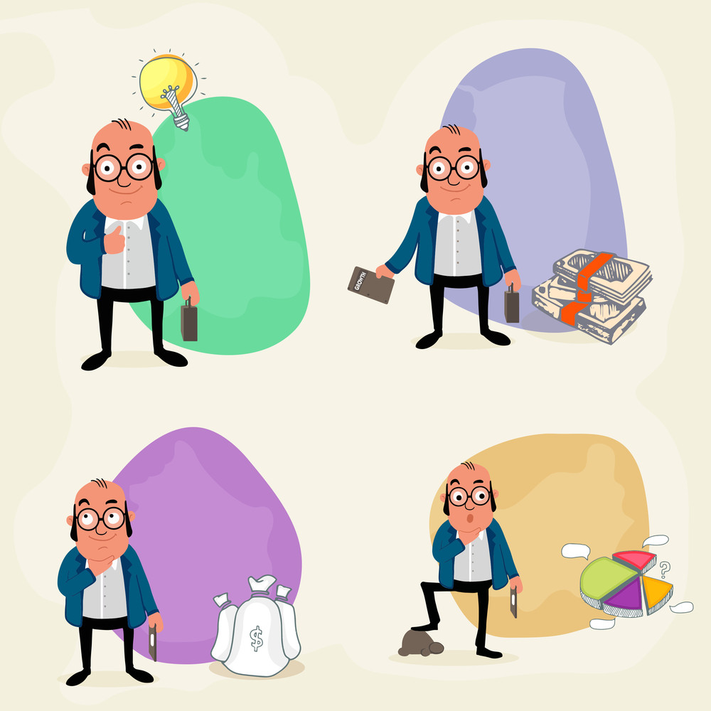 Set of four business characters in different styles with infographic elements on grey background.