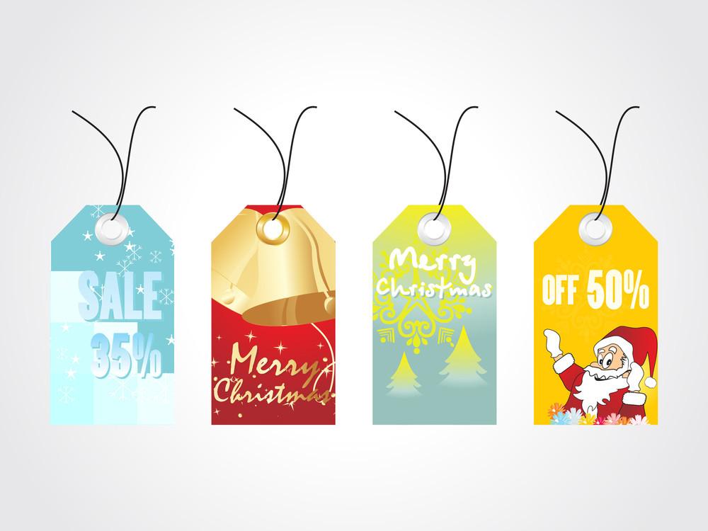 Set Of Four Christmas Sale Tag