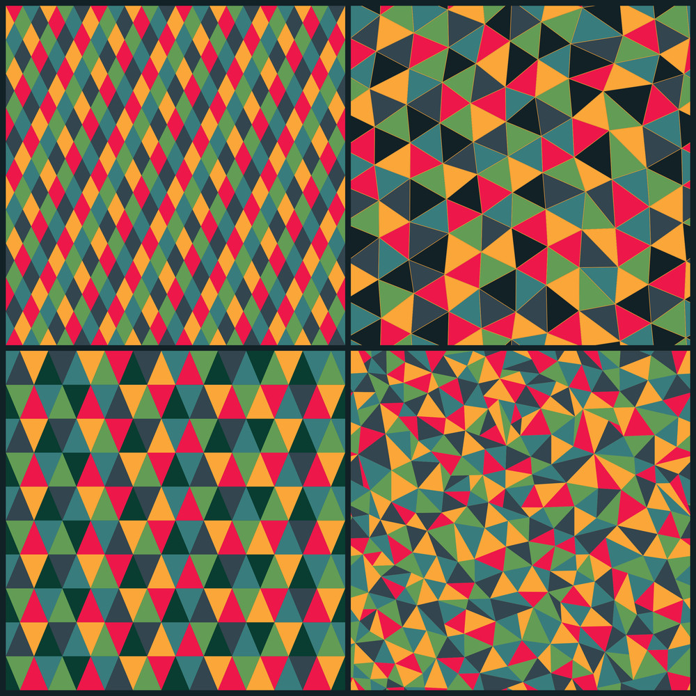 Set Of Four Geometric Pattern. Texture With Triangles