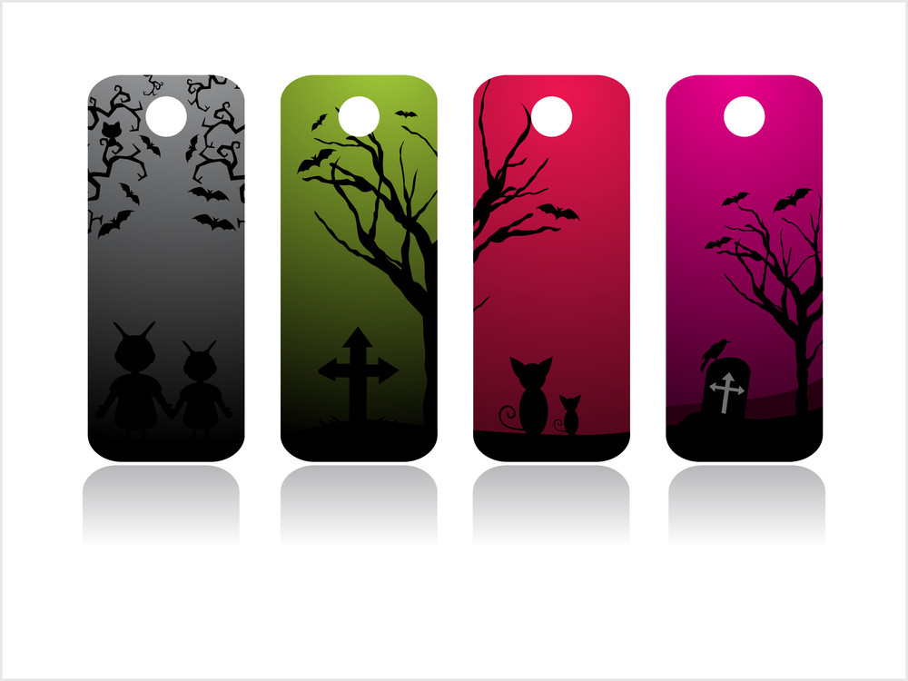 Set Of Four Halloween Tag