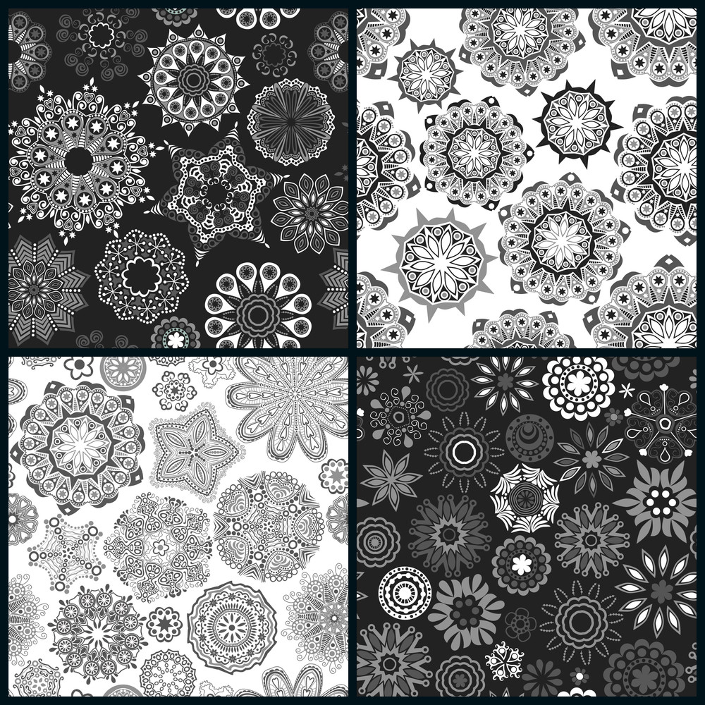 Set Of Four Ornate Floral Seamless Texture