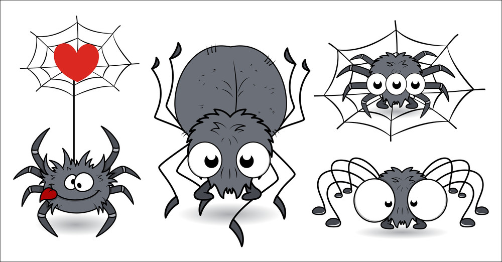 Set Of Funny Spiders Vector