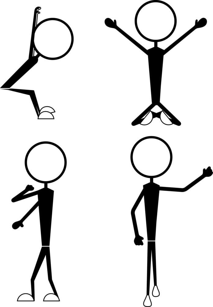 Set Of Funny Stick Figure Poses