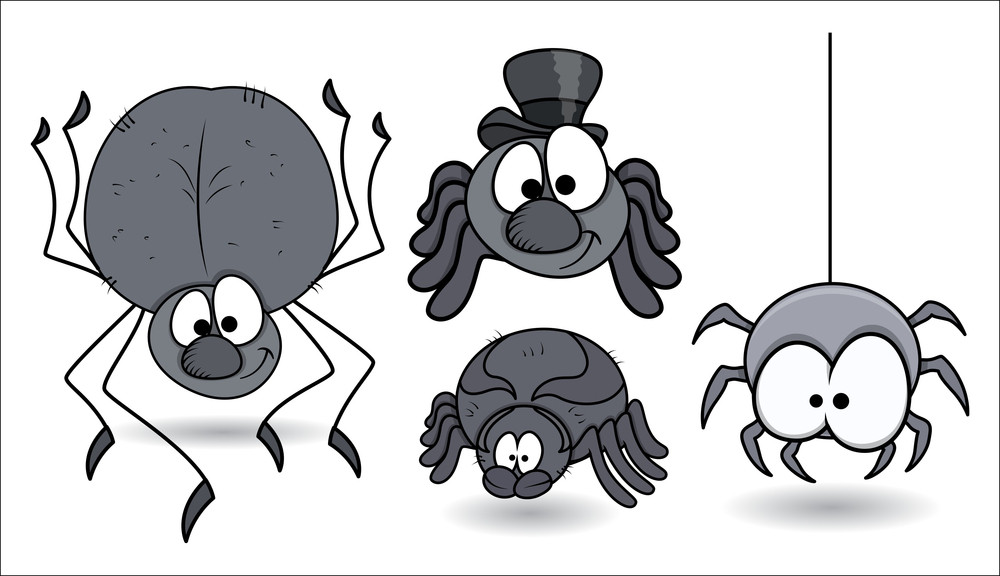 Set Of Funny Vector Spiders