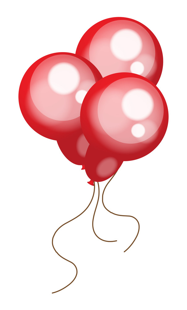 Set Of Glossy Red Balloons