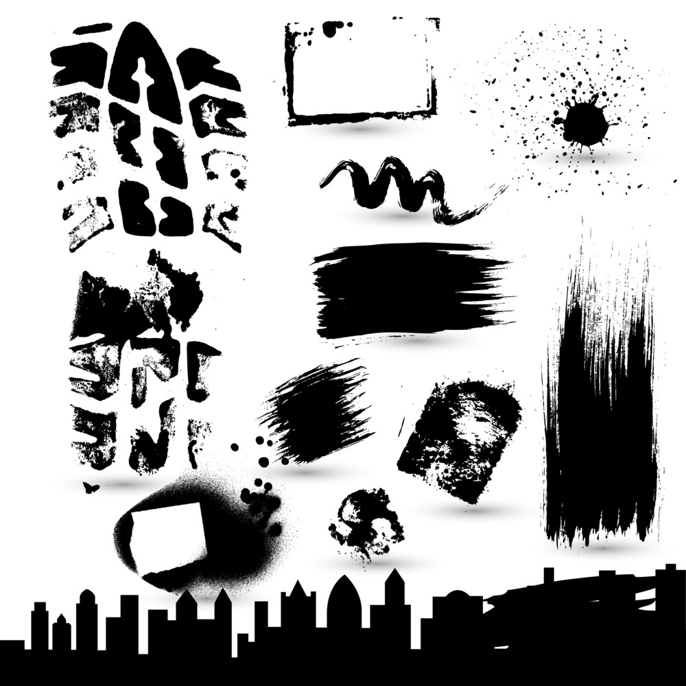 Set Of Grunge Strokes Vector