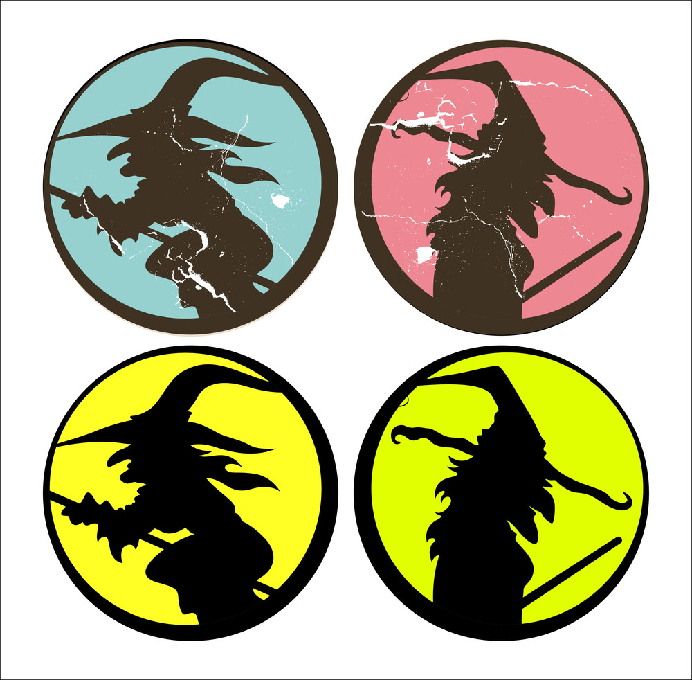 Set Of Halloween Witch Silhouettes Vector