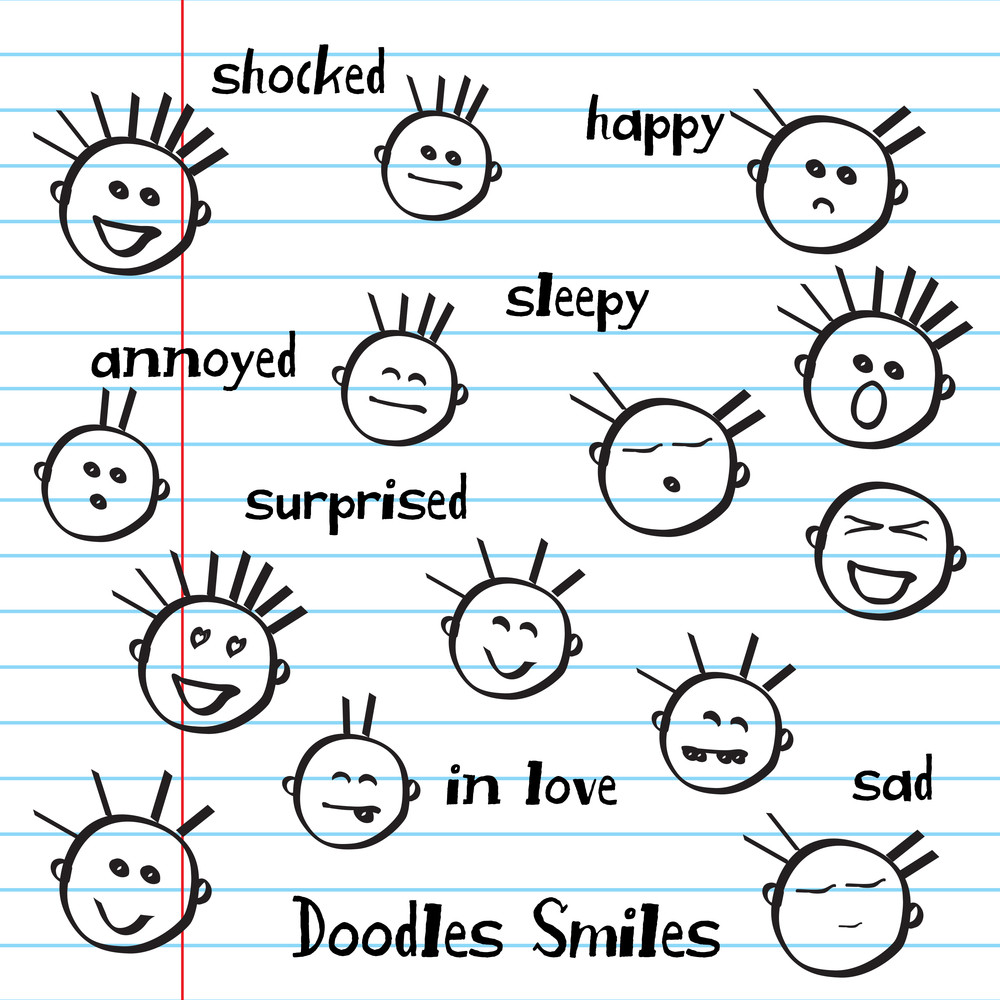 Set Of  Hand Drawn Emoticons Or Smileys Each With A Different Facial Expression And Emotion.
