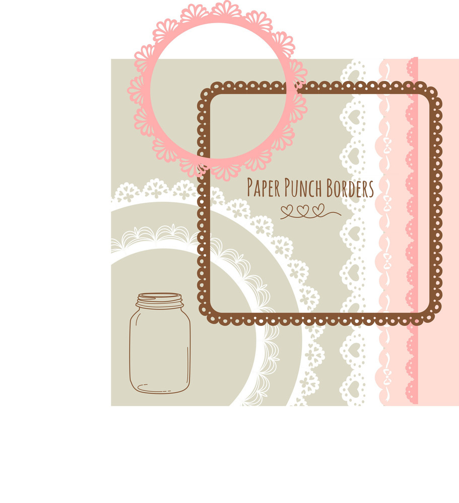 Set Of Hand-drawn Lace Paper Punch Borders And Frames