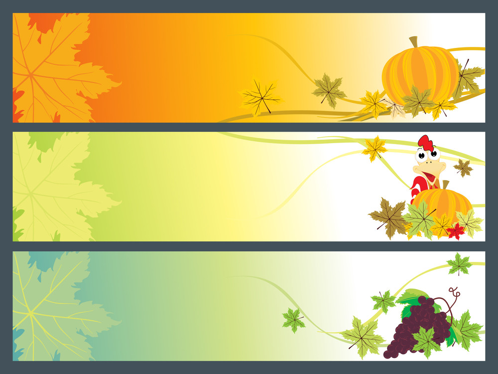Set Of Happy Thanksgiving Day Banner