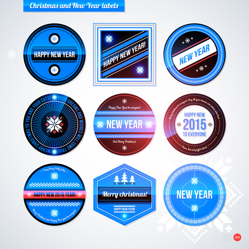 set of labels and badges for christmas and new year eps10