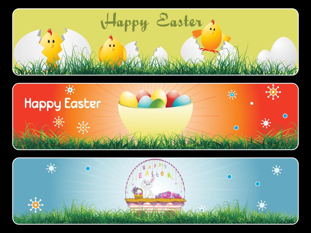 Set Of Landscape Easter Banner