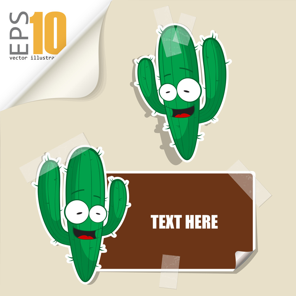 Set Of Message Card With Cartoon Cactus And Paper Cactus Fixed With Sticky Tape. Vector Illustration.
