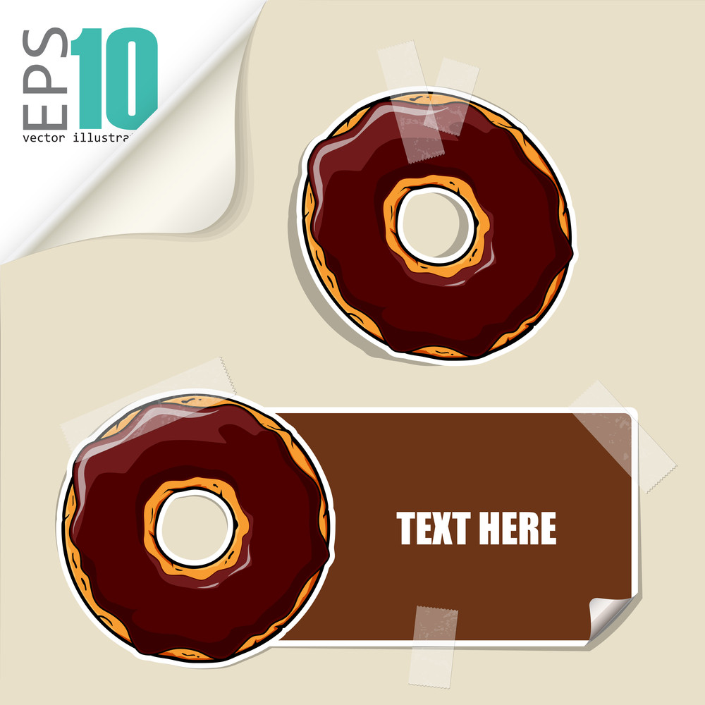 Set Of Message Card With Cartoon Donut And Paper Donut Fixed With Sticky Tape. Vector Illustration.