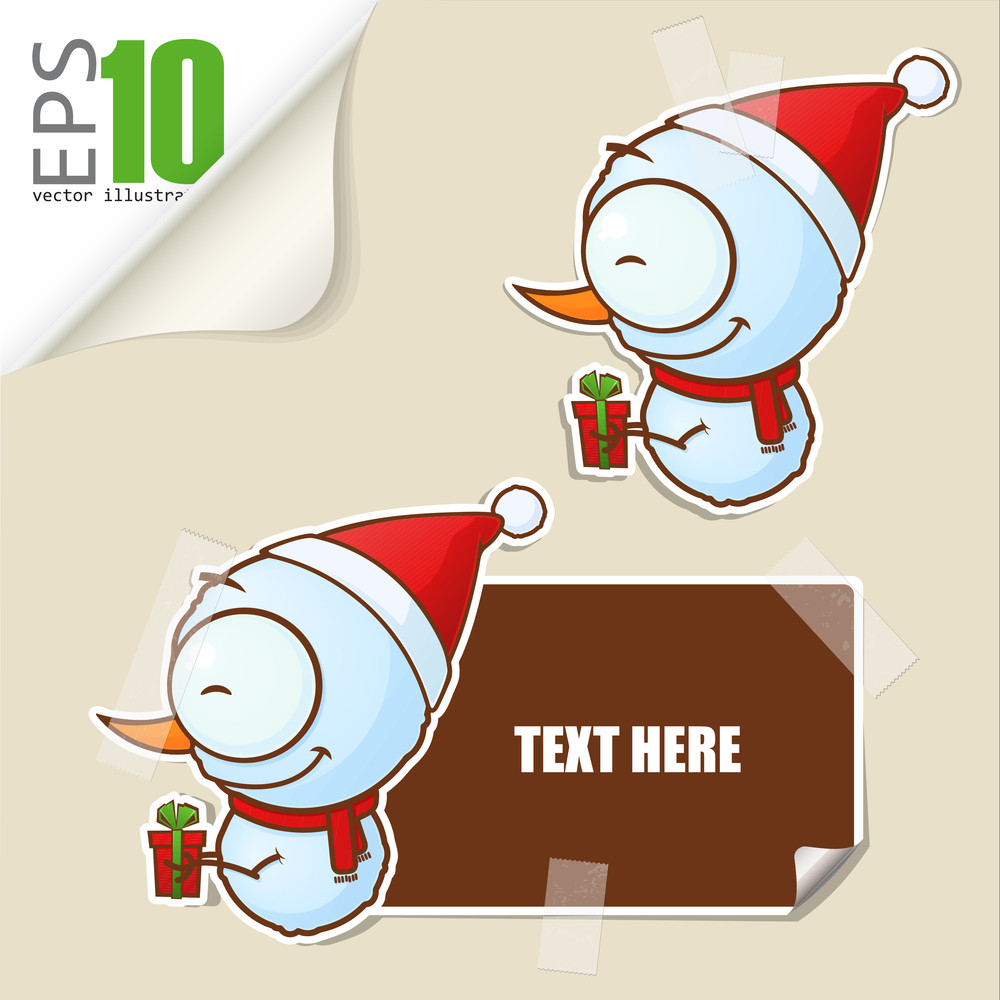 Set Of Message Card With Cartoon Snowman And Paper Snowman Fixed With Sticky Tape. Vector Illustration.