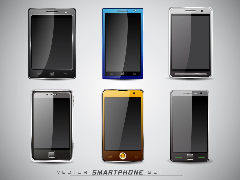 Set Of Modern Digital Touchscreen Smartphone
