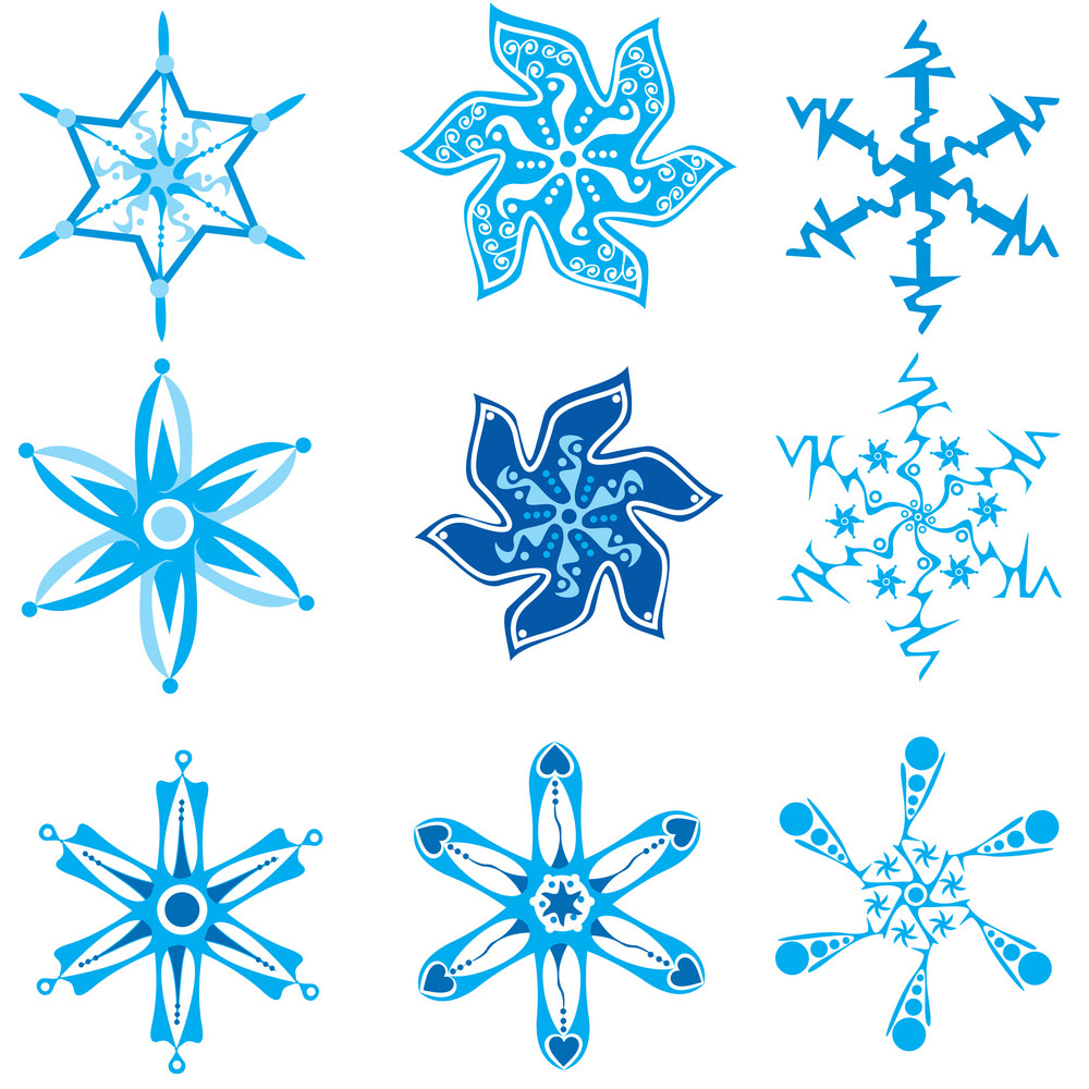 Set Of Nine Snowflakes On White
