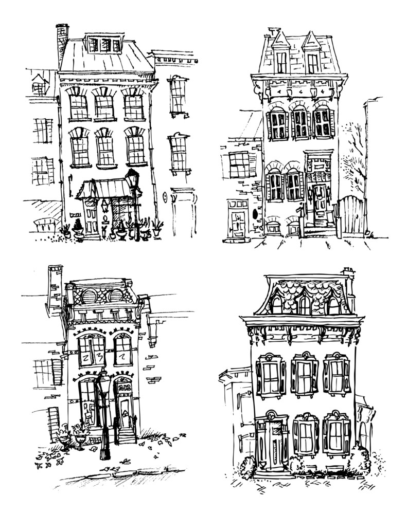 Set Of Old Hand Drawn Houses