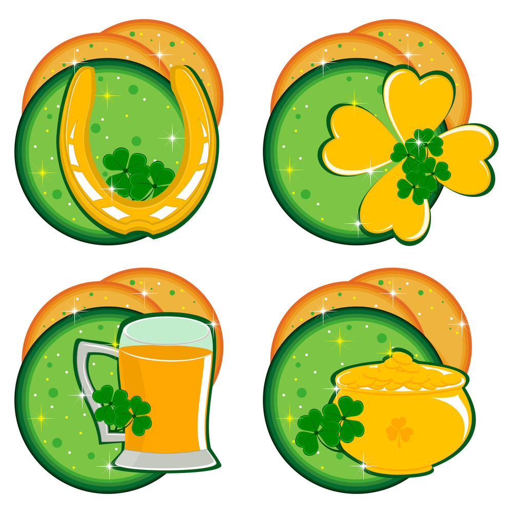 Set Of Ornaments For Patrick's Day With Abstract Background. Vector.