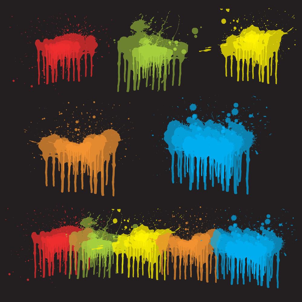 Set Of Paint Dripping