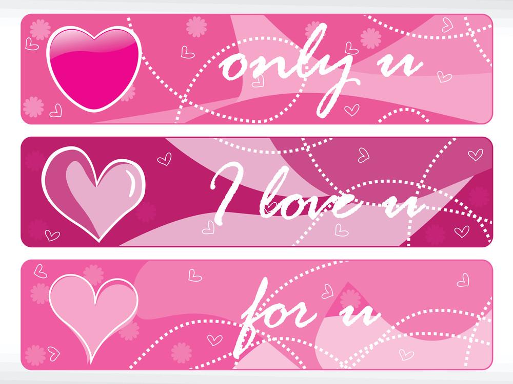 Set Of Pink Heart Shape Banner