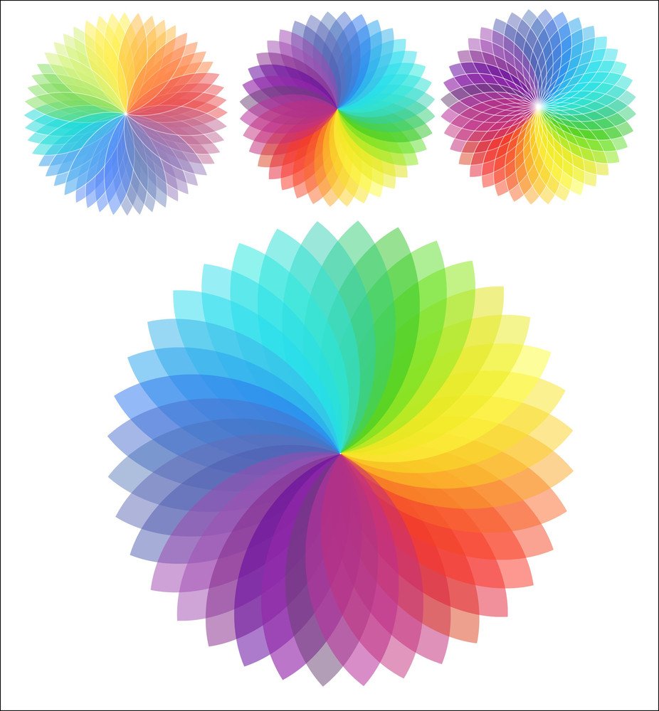 Set Of Rainbow Flowers
