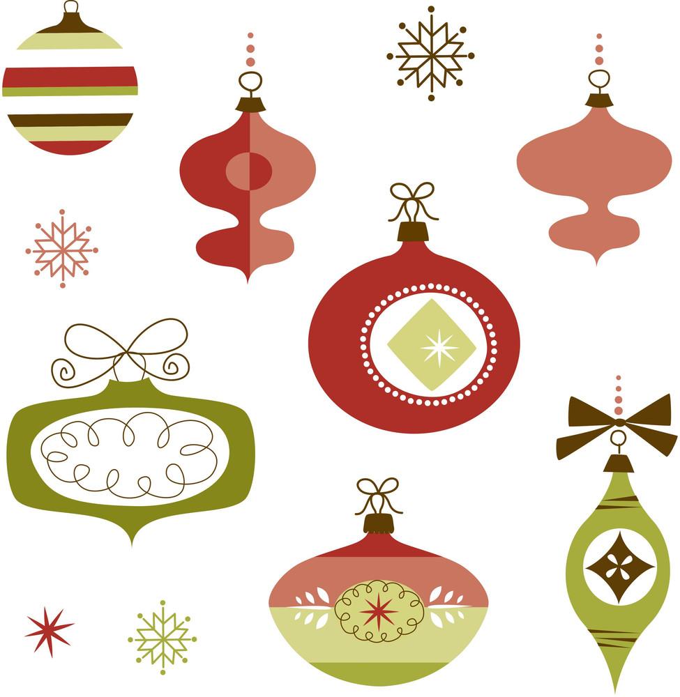 Set Of Retro Christmas Ornaments
