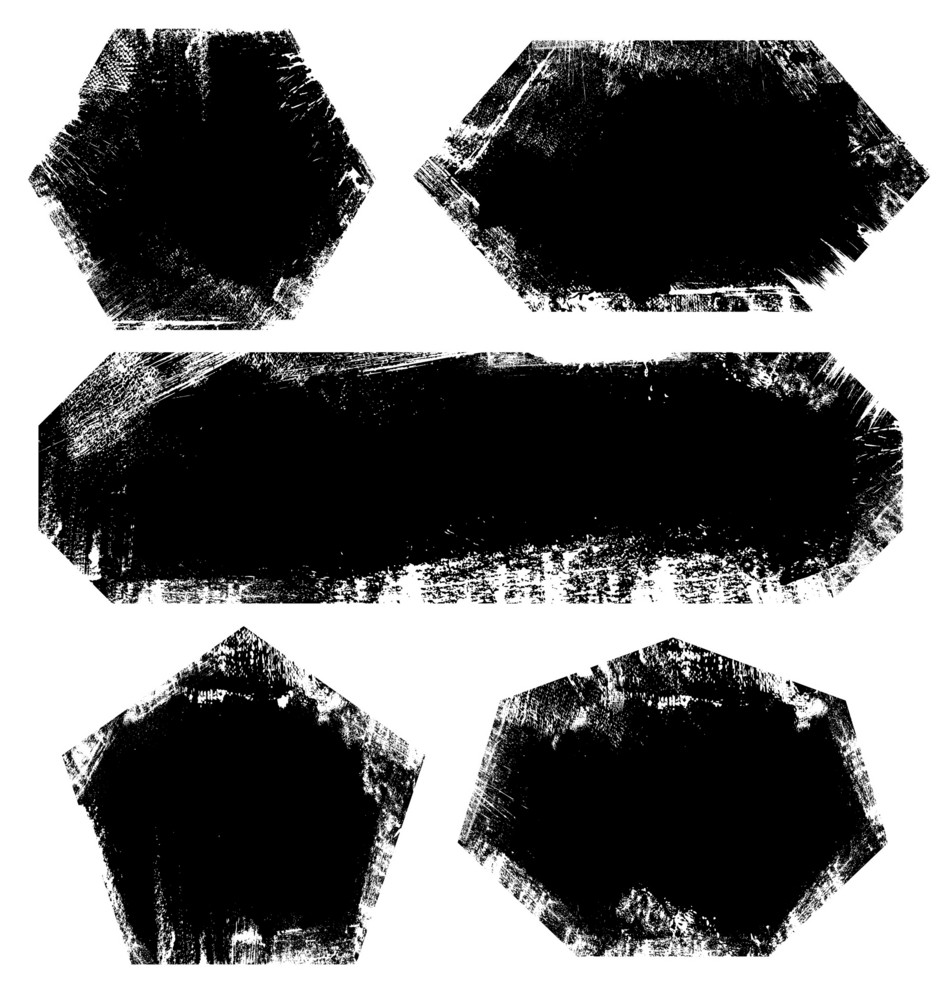 Set Of Scratched Grunge Frame Or Background Illustration