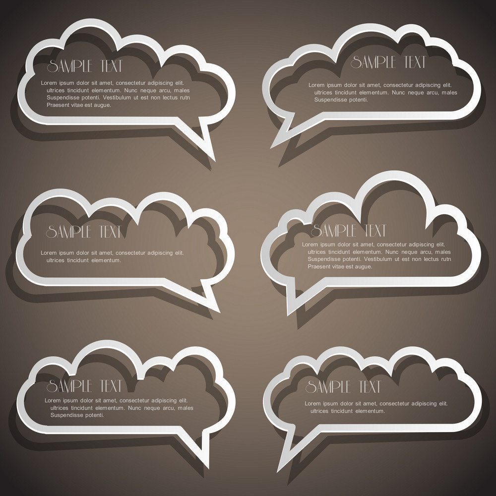 Set Of Speech Bubbles From Paper Outline