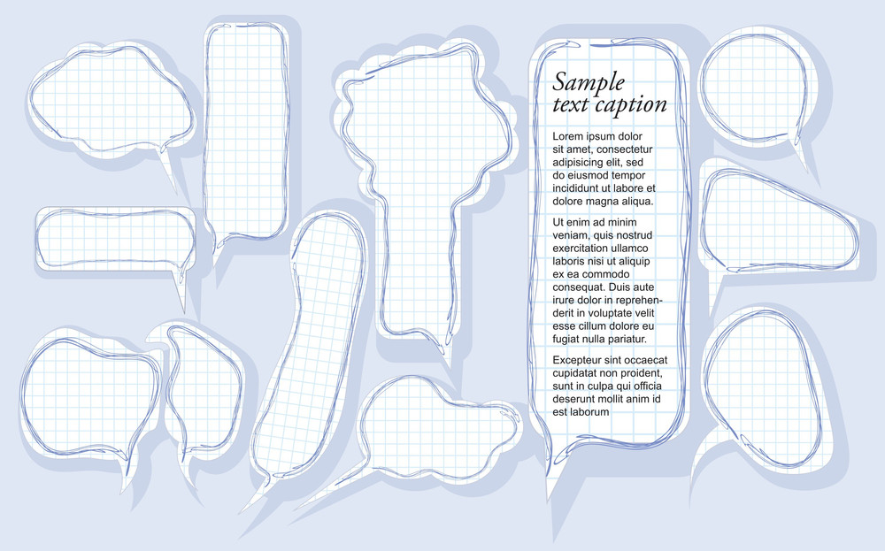 Set Of Speech Bubbles On Sketchbook Paper. Vector.