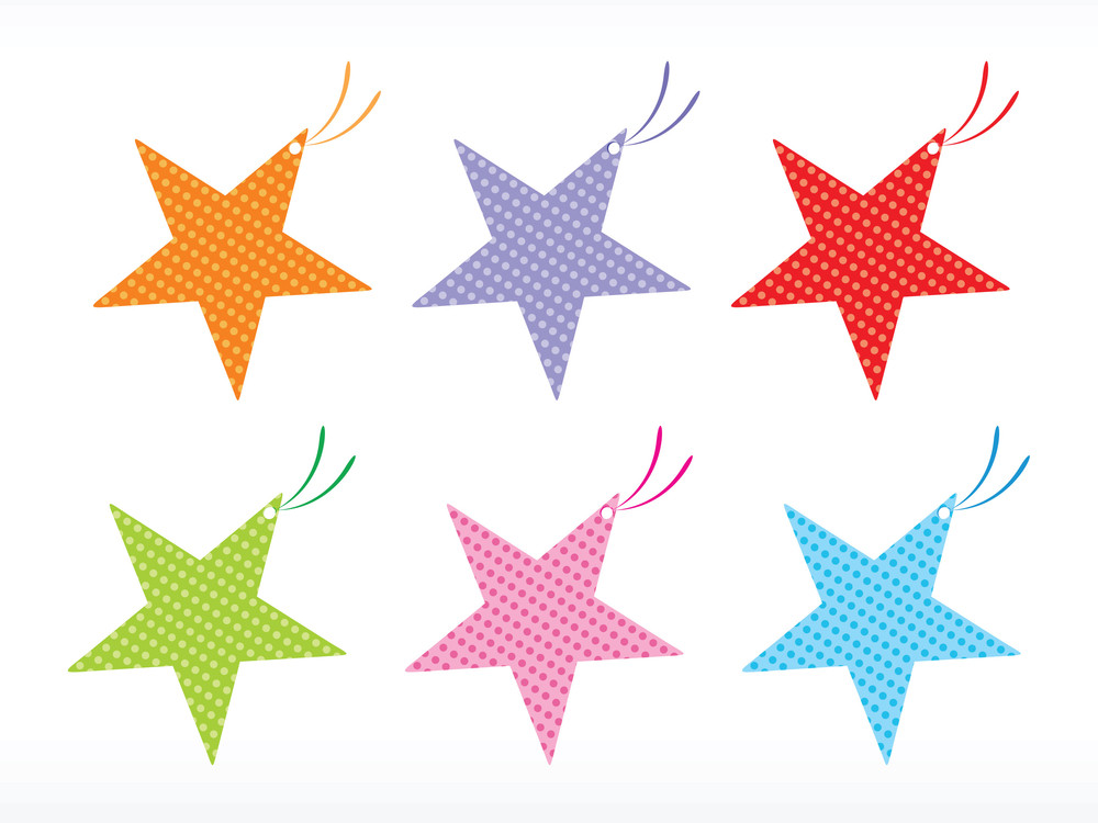 Set Of Star Vector Tags