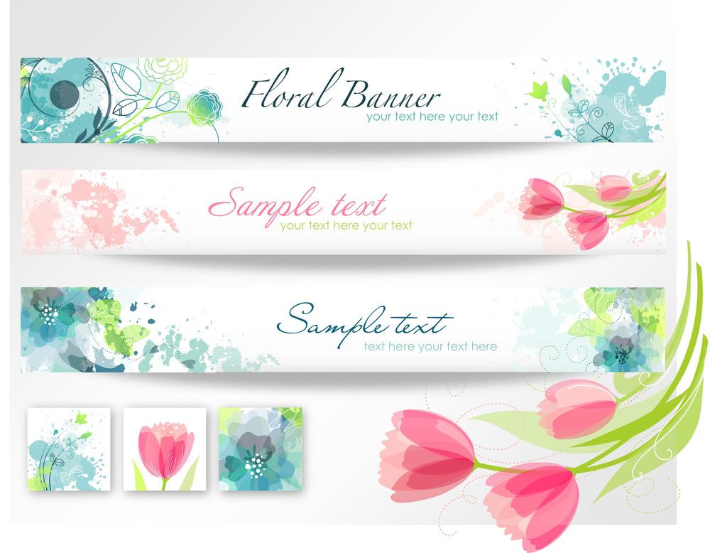 三つのバナーのセット。美しい花のヘッダ