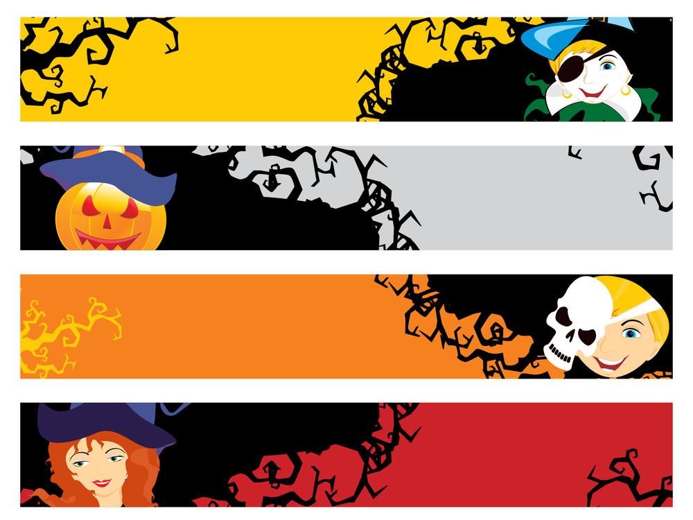 Set Of Three Halloween Banner