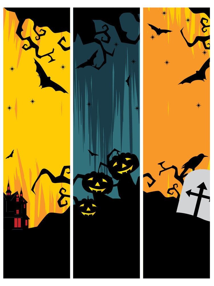 Set Of Three Halloween Banner Royalty-Free Stock Image - Storyblocks