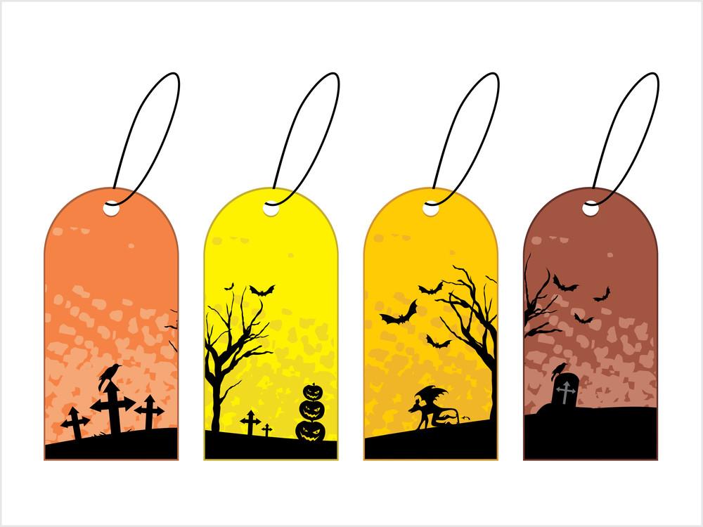 Set Of Three Halloween Tag