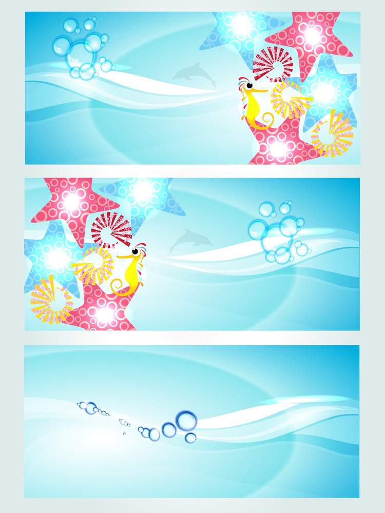 Set Of Three Headers Displaying Waves And Water Creatures.