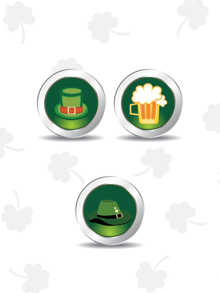 Set Of Three Icons For Patrick Day