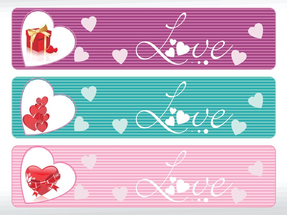 Set Of Three Love Banner
