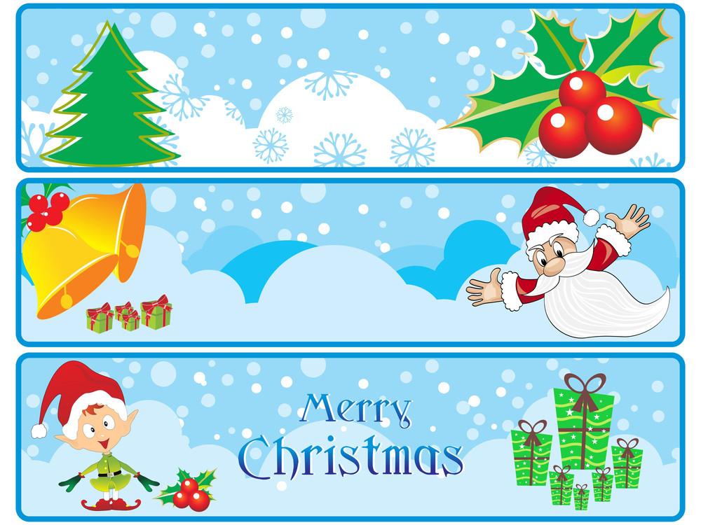 Set Of Three Merry Xmas Banner