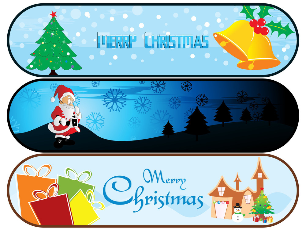 Set Of Three Merry Xmas Banner