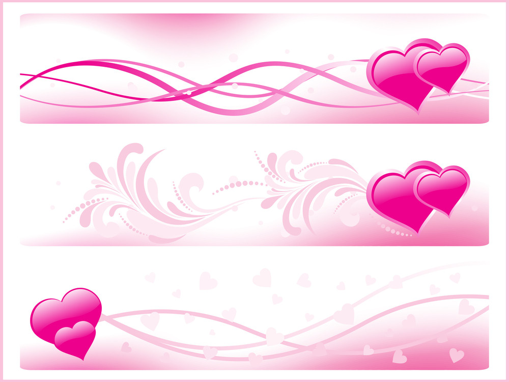 Set Of Three Pink Romantic Banner