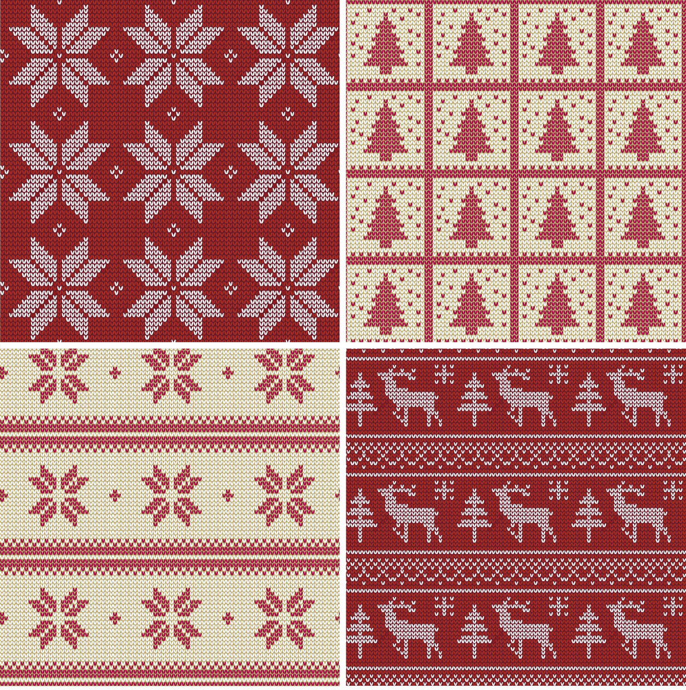 Set Of Traditional Christmas Knitted Scandinavian Seamless Patterns ...