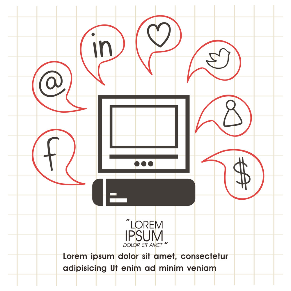 Set of various social media icons signs or symbols for network communication concept.
