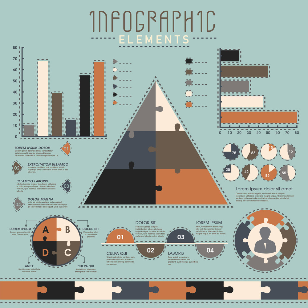 set of various statistical infographic elements for your