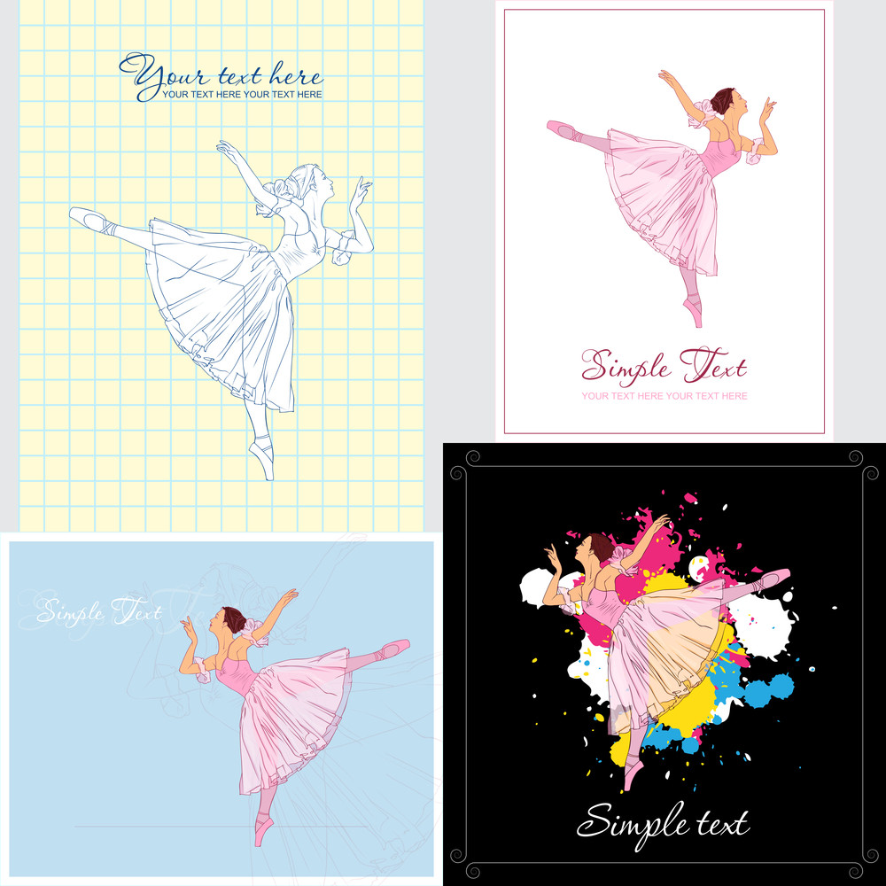 Set Of Vector Cards With Ballerina